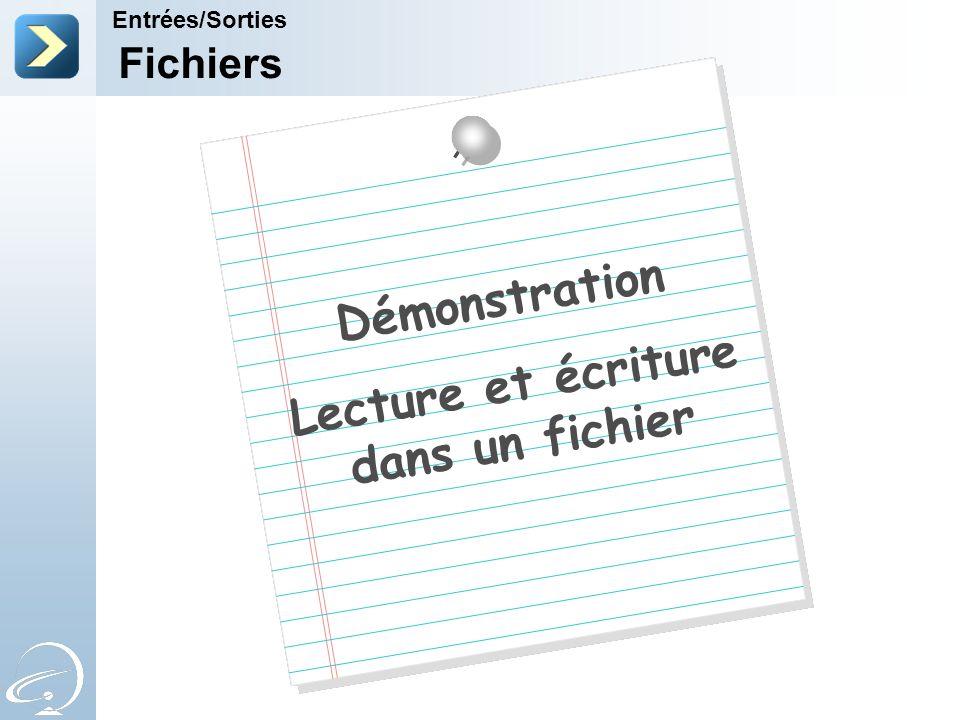 Fichiers Entrées/Sorties Démonstration Lecture et écriture dans un fichier