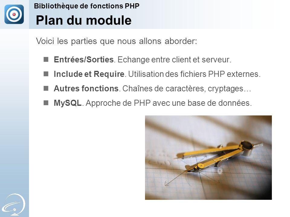 Plan du module Entrées/Sorties. Echange entre client et serveur. Include et Require. Utilisation des fichiers PHP externes. Autres fonctions. Chaînes
