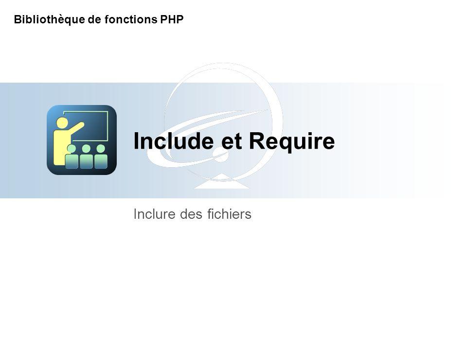 Include et Require Inclure des fichiers Bibliothèque de fonctions PHP