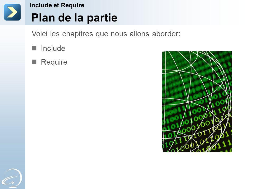 Plan de la partie Include Require Voici les chapitres que nous allons aborder: Include et Require