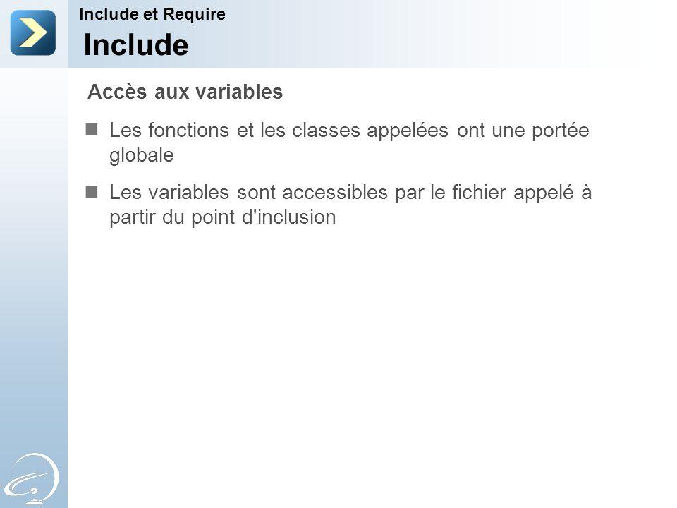 Include Les fonctions et les classes appelées ont une portée globale Les variables sont accessibles par le fichier appelé à partir du point d'inclusio