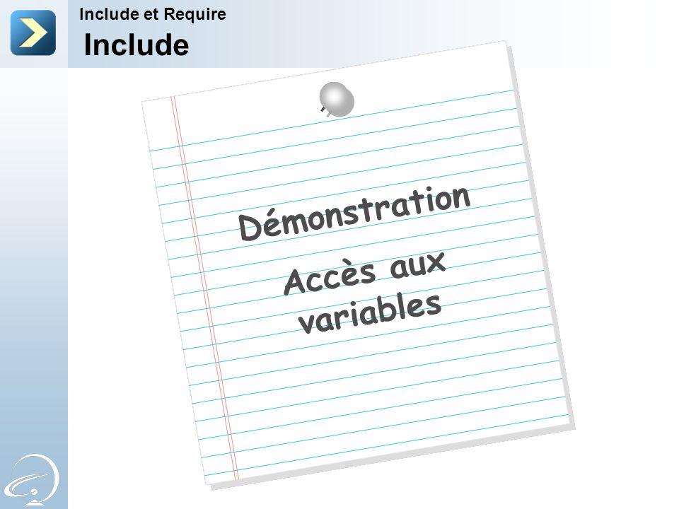 Include Include et Require Démonstration Accès aux variables