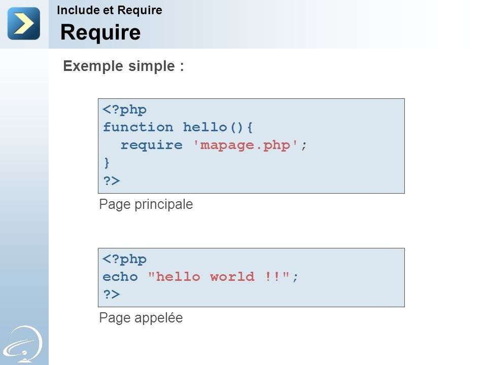 Require Page principale Page appelée Include et Require Exemple simple : <?php function hello(){ require mapage.php ; } ?> <?php echo hello world !! ; ?>