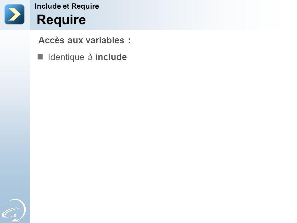 Require Identique à include Include et Require Accès aux variables :