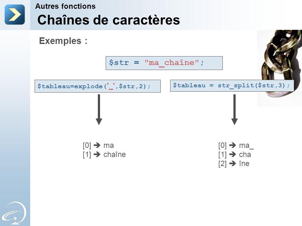 Chaînes de caractères Autres fonctions Exemples : $str =