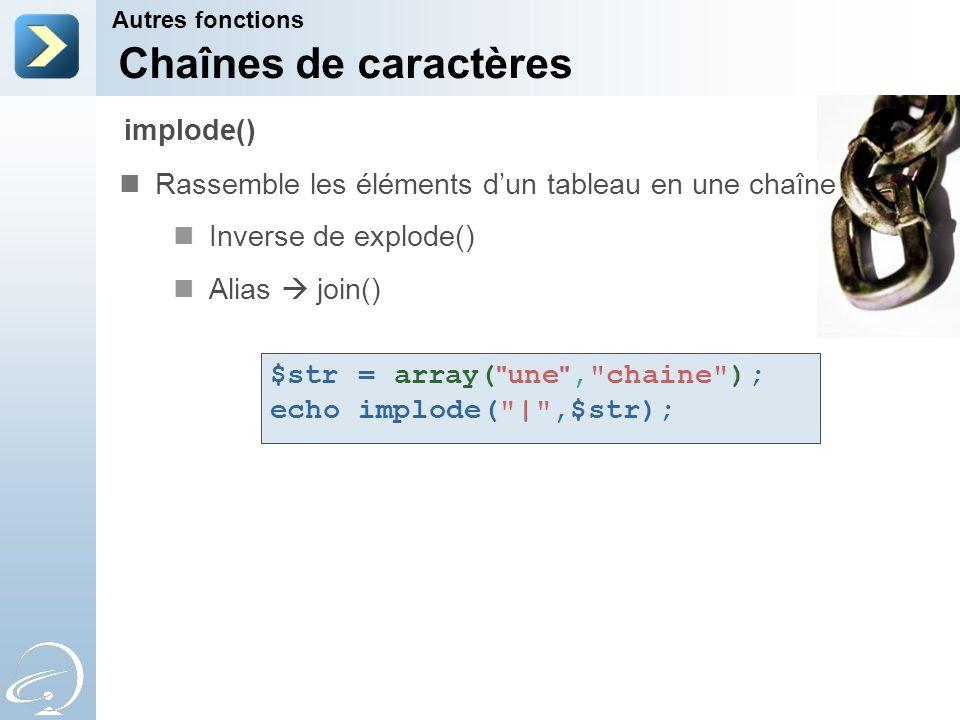 Chaînes de caractères Rassemble les éléments dun tableau en une chaîne Inverse de explode() Alias join() Autres fonctions implode() $str = array(