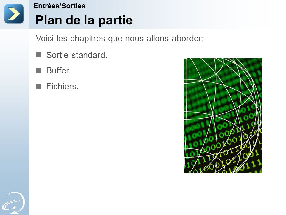 Plan de la partie Sortie standard. Buffer. Fichiers. Voici les chapitres que nous allons aborder: Entrées/Sorties