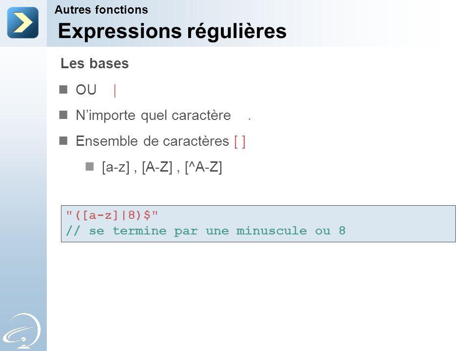Expressions régulières OU   Nimporte quel caractère. Ensemble de caractères [ ] [a-z], [A-Z], [^A-Z] Autres fonctions Les bases