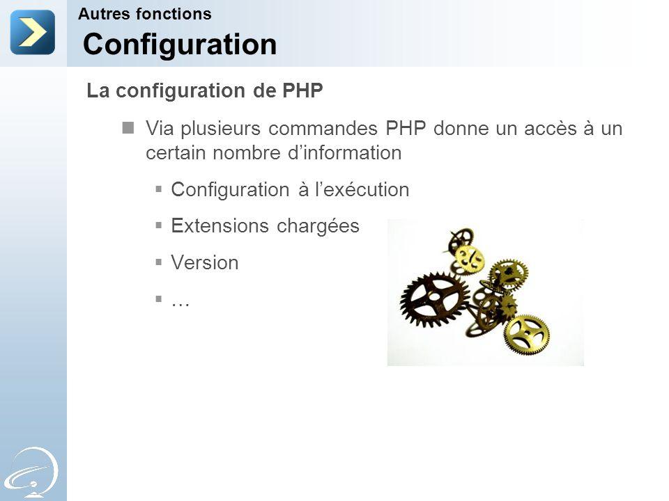 Via plusieurs commandes PHP donne un accès à un certain nombre dinformation Configuration à lexécution Extensions chargées Version … Autres fonctions