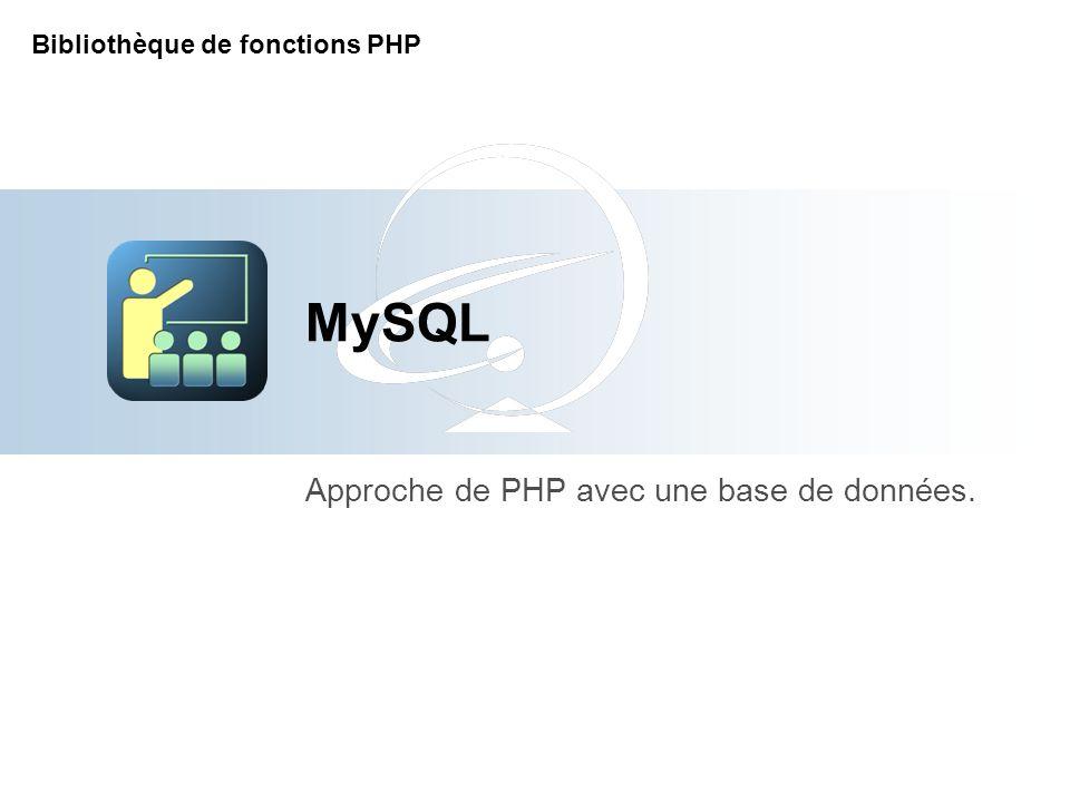 MySQL Approche de PHP avec une base de données. Bibliothèque de fonctions PHP
