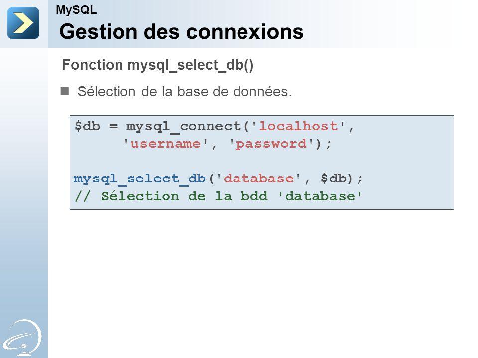 Gestion des connexions Sélection de la base de données. MySQL Fonction mysql_select_db() $db = mysql_connect('localhost', 'username', 'password'); mys