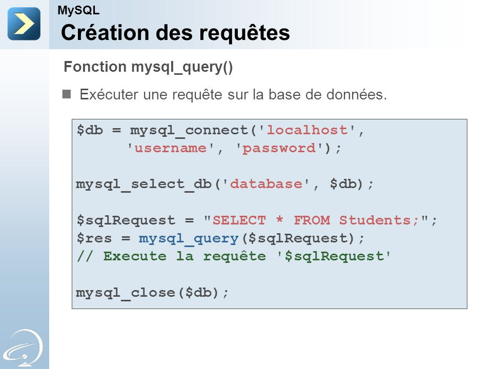 Création des requêtes Exécuter une requête sur la base de données. MySQL Fonction mysql_query() $db = mysql_connect('localhost', 'username', 'password