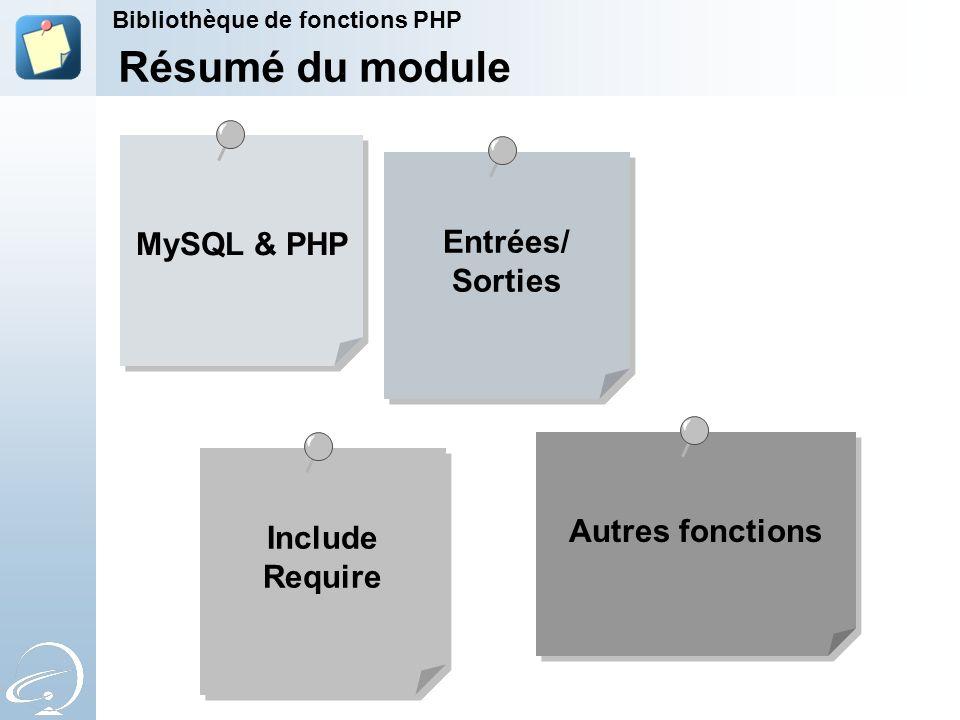 Autres fonctions MySQL & PHP Entrées/ Sorties Entrées/ Sorties Résumé du module Include Require Include Require Bibliothèque de fonctions PHP
