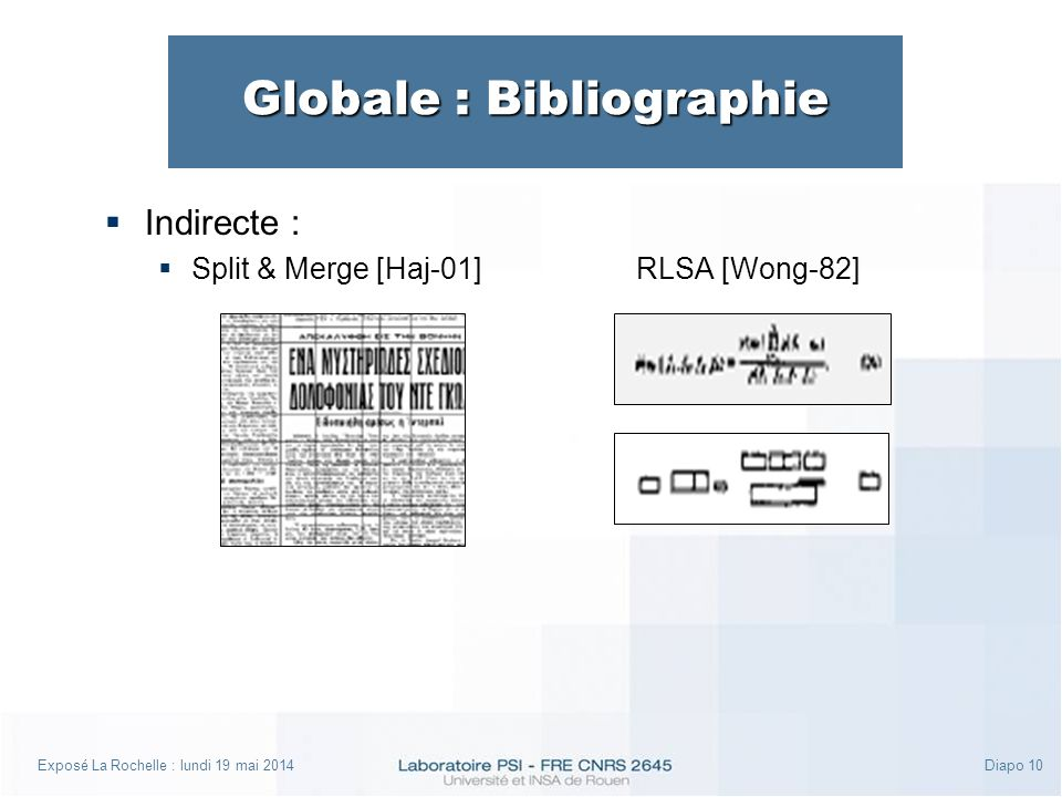 Exposé La Rochelle : lundi 19 mai 2014Diapo 10 Globale : Bibliographie Indirecte : Split & Merge [Haj-01]RLSA [Wong-82]