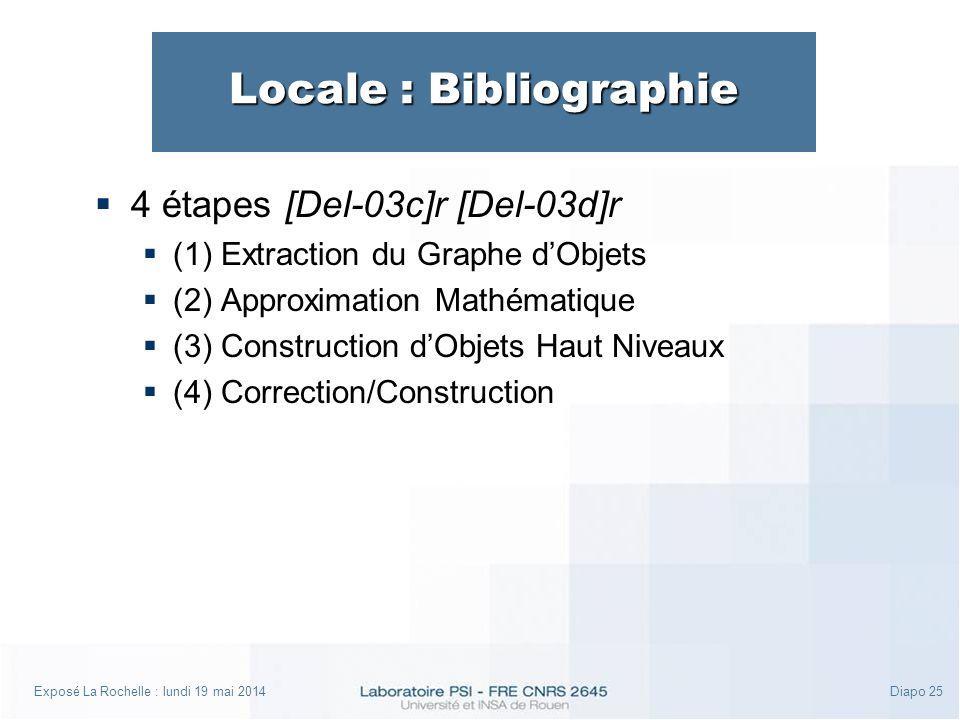 Exposé La Rochelle : lundi 19 mai 2014Diapo 25 Locale : Bibliographie 4 étapes [Del-03c]r [Del-03d]r (1) Extraction du Graphe dObjets (2) Approximation Mathématique (3) Construction dObjets Haut Niveaux (4) Correction/Construction