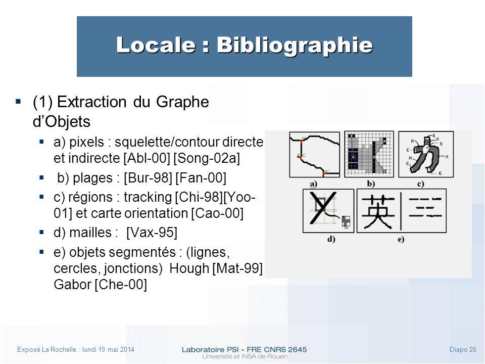 Exposé La Rochelle : lundi 19 mai 2014Diapo 26 Locale : Bibliographie (1) Extraction du Graphe dObjets a) pixels : squelette/contour directe et indirecte [Abl-00] [Song-02a] b) plages : [Bur-98] [Fan-00] c) régions : tracking [Chi-98][Yoo- 01] et carte orientation [Cao-00] d) mailles : [Vax-95] e) objets segmentés : (lignes, cercles, jonctions) Hough [Mat-99] Gabor [Che-00]