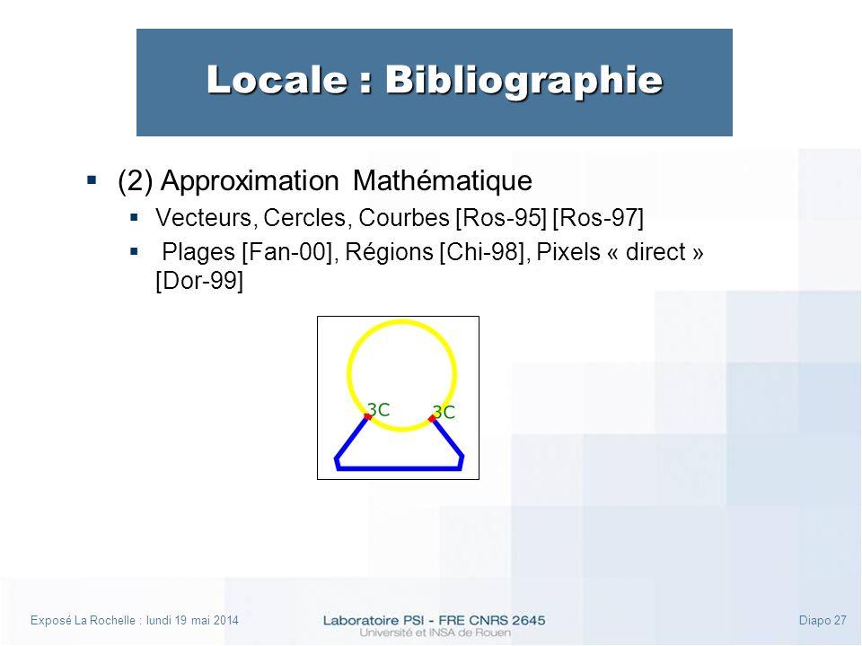 Exposé La Rochelle : lundi 19 mai 2014Diapo 27 Locale : Bibliographie (2) Approximation Mathématique Vecteurs, Cercles, Courbes [Ros-95] [Ros-97] Plages [Fan-00], Régions [Chi-98], Pixels « direct » [Dor-99]