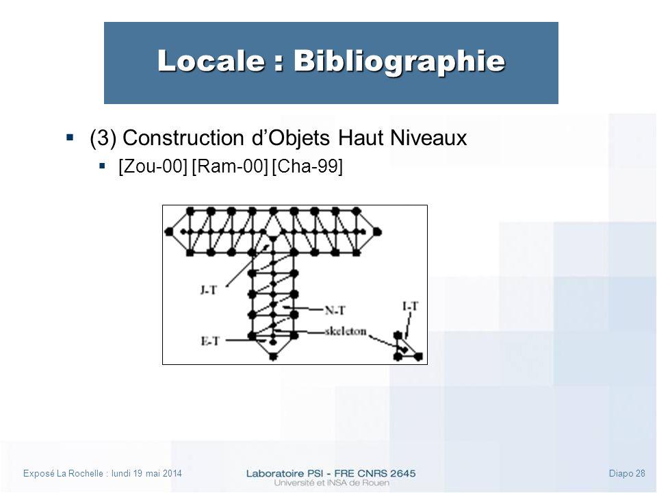 Exposé La Rochelle : lundi 19 mai 2014Diapo 28 Locale : Bibliographie (3) Construction dObjets Haut Niveaux [Zou-00] [Ram-00] [Cha-99]