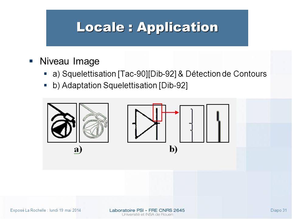 Exposé La Rochelle : lundi 19 mai 2014Diapo 31 Locale : Application Niveau Image a) Squelettisation [Tac-90][Dib-92] & Détection de Contours b) Adaptation Squelettisation [Dib-92]