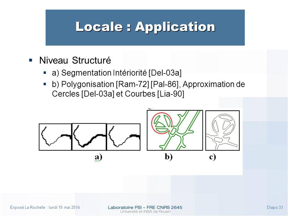 Exposé La Rochelle : lundi 19 mai 2014Diapo 33 Locale : Application Niveau Structuré a) Segmentation Intériorité [Del-03a] b) Polygonisation [Ram-72] [Pal-86], Approximation de Cercles [Del-03a] et Courbes [Lia-90]