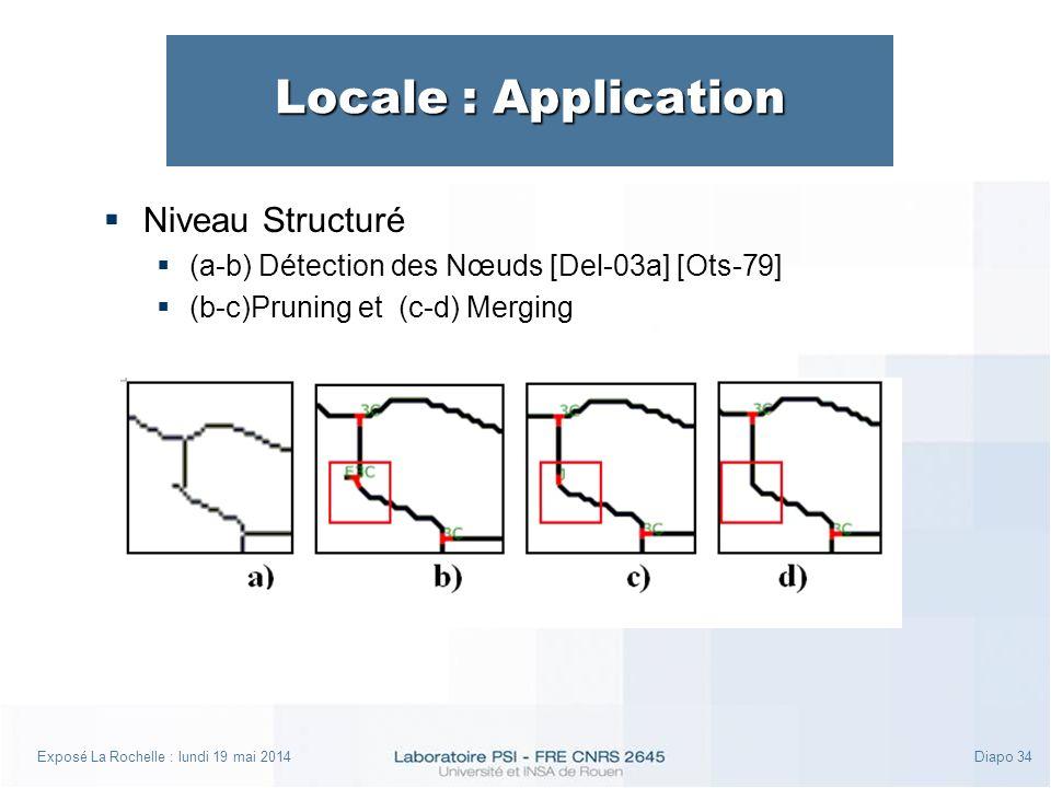 Exposé La Rochelle : lundi 19 mai 2014Diapo 34 Locale : Application Niveau Structuré (a-b) Détection des Nœuds [Del-03a] [Ots-79] (b-c)Pruning et (c-d) Merging