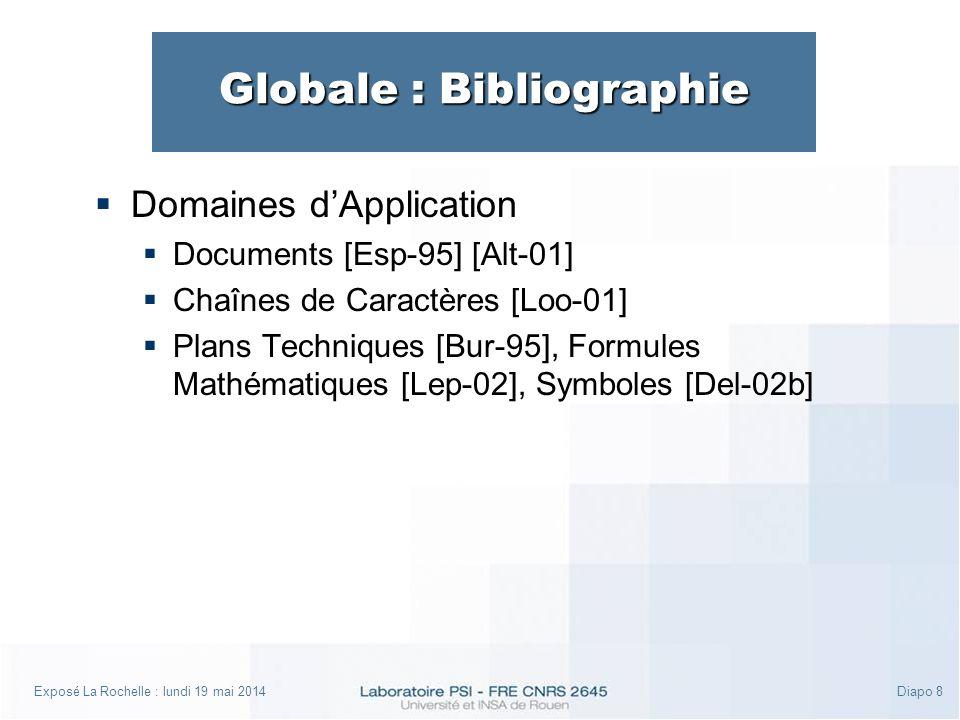Exposé La Rochelle : lundi 19 mai 2014Diapo 8 Globale : Bibliographie Domaines dApplication Documents [Esp-95] [Alt-01] Chaînes de Caractères [Loo-01] Plans Techniques [Bur-95], Formules Mathématiques [Lep-02], Symboles [Del-02b]