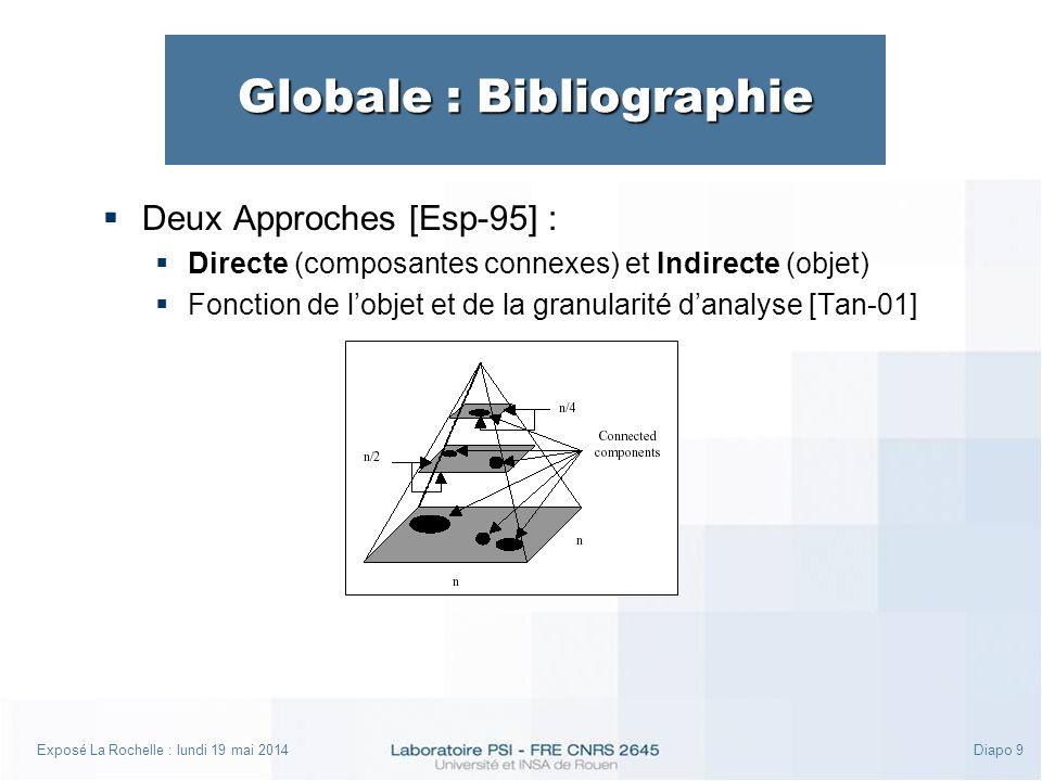Exposé La Rochelle : lundi 19 mai 2014Diapo 9 Globale : Bibliographie Deux Approches [Esp-95] : Directe (composantes connexes) et Indirecte (objet) Fonction de lobjet et de la granularité danalyse [Tan-01]