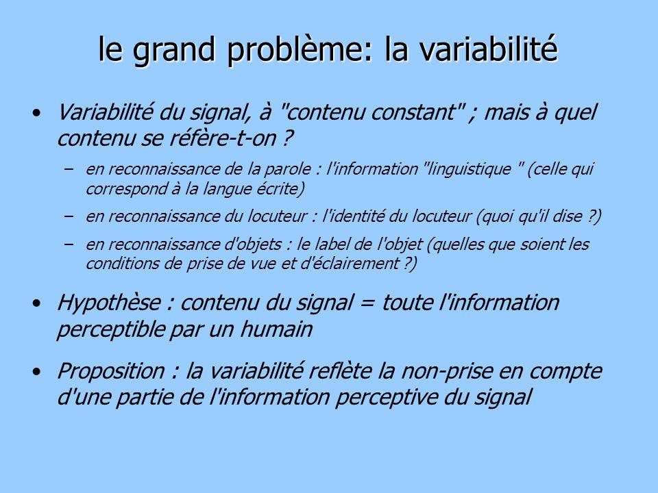 Variabilité du signal, à contenu constant ; mais à quel contenu se réfère-t-on .