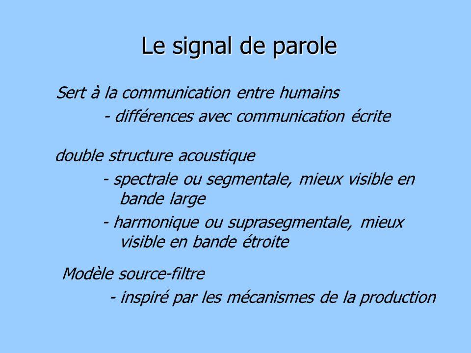 Sert à la communication entre humains - différences avec communication écrite Le signal de parole double structure acoustique - spectrale ou segmentale, mieux visible en bande large - harmonique ou suprasegmentale, mieux visible en bande étroite Modèle source-filtre - inspiré par les mécanismes de la production