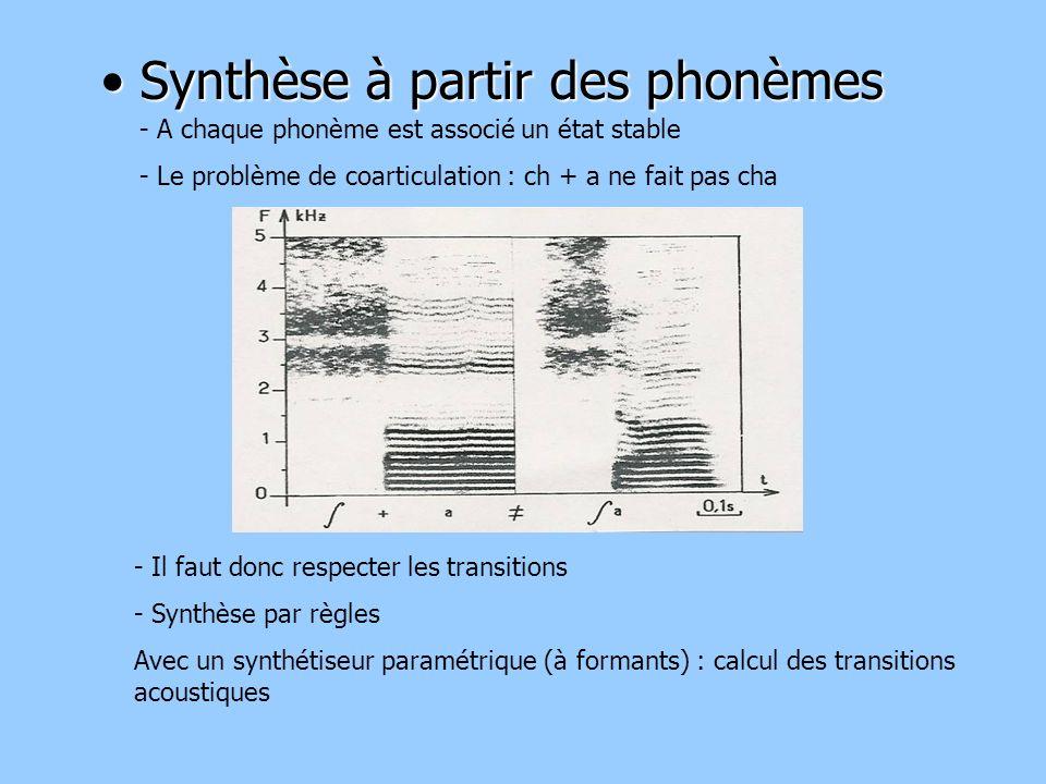 Synthèse à partir des phonèmesSynthèse à partir des phonèmes - A chaque phonème est associé un état stable - Le problème de coarticulation : ch + a ne fait pas cha - Il faut donc respecter les transitions - Synthèse par règles Avec un synthétiseur paramétrique (à formants) : calcul des transitions acoustiques