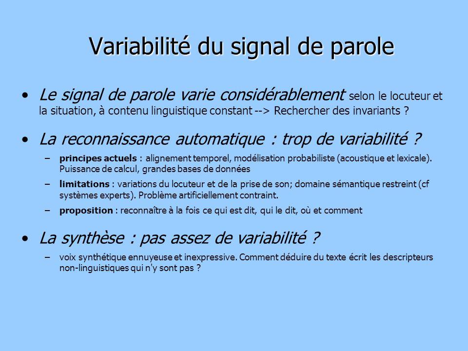 Variabilité du signal de parole Le signal de parole varie considérablement selon le locuteur et la situation, à contenu linguistique constant --> Rechercher des invariants .