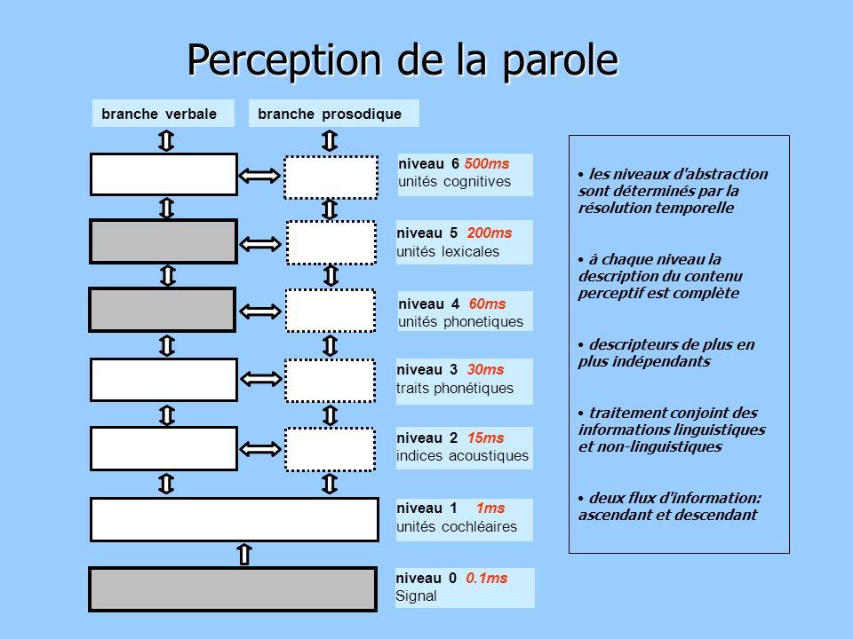 Perception de la parole les niveaux d abstraction sont déterminés par la résolution temporelle à chaque niveau la description du contenu perceptif est complète descripteurs de plus en plus indépendants traitement conjoint des informations linguistiques et non-linguistiques deux flux d information: ascendant et descendant niveau 6 500ms unités cognitives niveau 2 15ms indices acoustiques niveau 1 1ms unités cochléaires niveau 0 0.1ms Signal niveau 3 30ms traits phonétiques niveau 4 60ms unités phonetiques niveau 5 200ms unités lexicales branche verbalebranche prosodique
