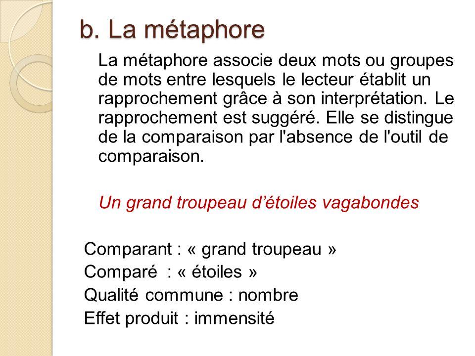 b. La métaphore La métaphore associe deux mots ou groupes de mots entre lesquels le lecteur établit un rapprochement grâce à son interprétation. Le ra
