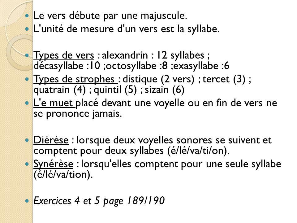 Le vers débute par une majuscule. L'unité de mesure d'un vers est la syllabe. Types de vers : alexandrin : 12 syllabes ; décasyllabe :10 ;octosyllabe