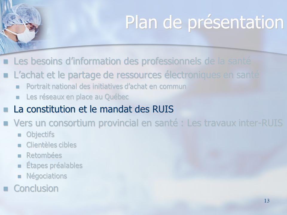 13 Plan de présentation Les besoins dinformation des professionnels de la santé Les besoins dinformation des professionnels de la santé Lachat et le p