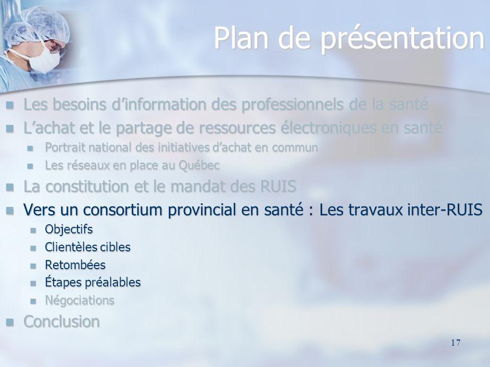 17 Plan de présentation Les besoins dinformation des professionnels de la santé Les besoins dinformation des professionnels de la santé Lachat et le p