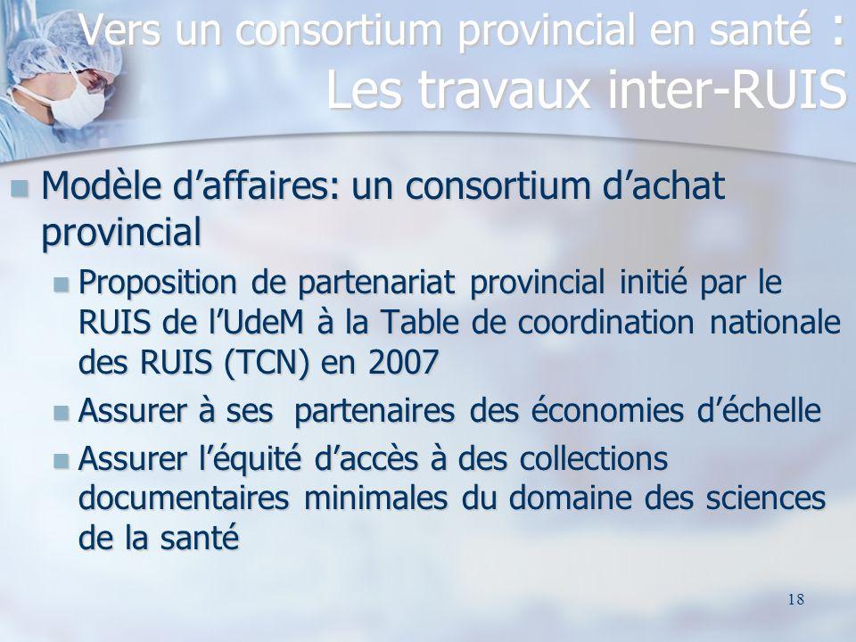 18 Modèle daffaires: un consortium dachat provincial Modèle daffaires: un consortium dachat provincial Proposition de partenariat provincial initié pa
