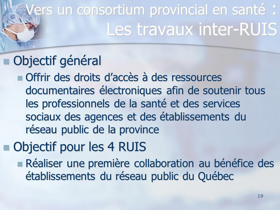 19 Vers un consortium provincial en santé : Les travaux inter-RUIS Objectif général Objectif général Offrir des droits daccès à des ressources documen