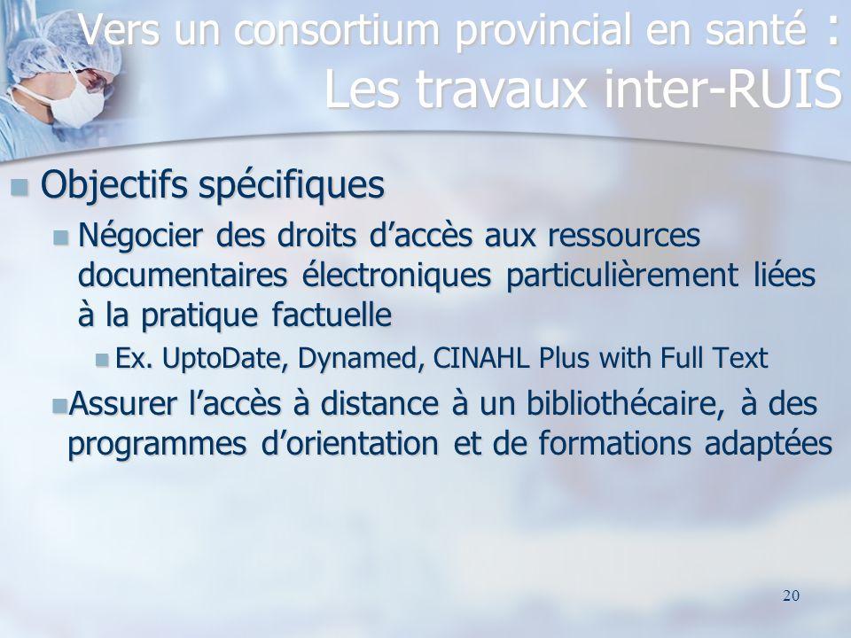 20 Objectifs spécifiques Objectifs spécifiques Négocier des droits daccès aux ressources documentaires électroniques particulièrement liées à la prati