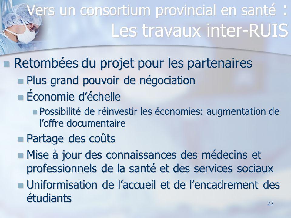 23 Retombées du projet pour les partenaires Retombées du projet pour les partenaires Plus grand pouvoir de négociation Plus grand pouvoir de négociati