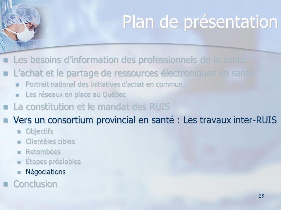 25 Plan de présentation Les besoins dinformation des professionnels de la santé Les besoins dinformation des professionnels de la santé Lachat et le p