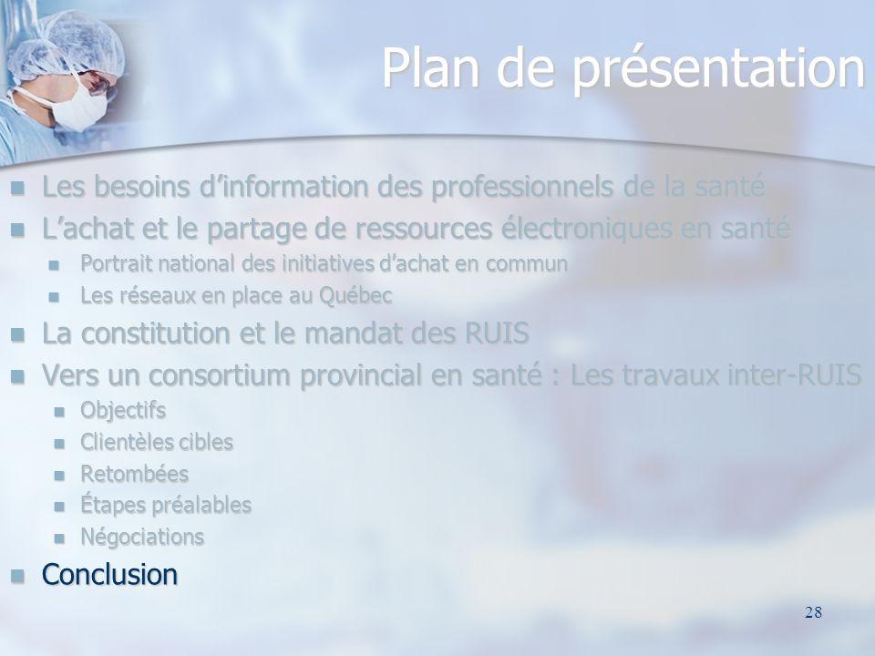 28 Plan de présentation Les besoins dinformation des professionnels de la santé Les besoins dinformation des professionnels de la santé Lachat et le p