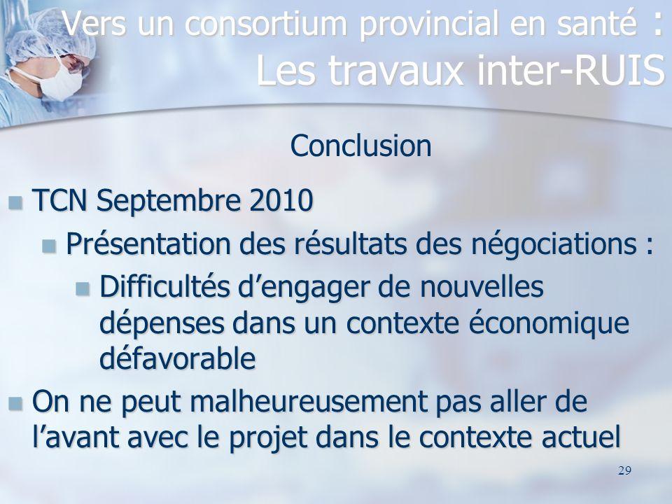 29 Conclusion TCN Septembre 2010 TCN Septembre 2010 Présentation des résultats des négociations : Présentation des résultats des négociations : Diffic