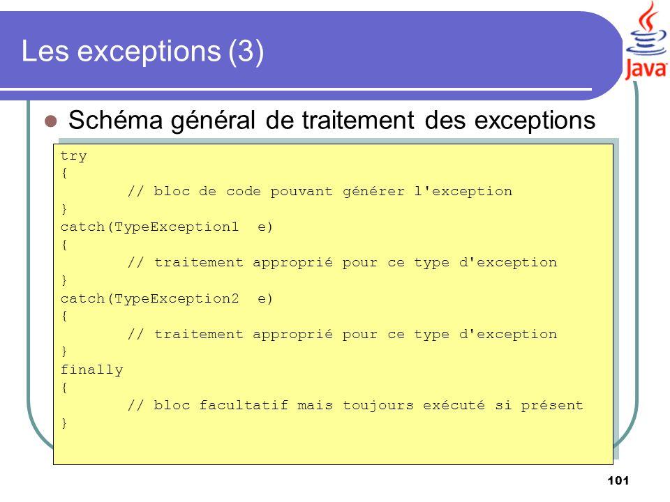 101 Les exceptions (3) Schéma général de traitement des exceptions try { // bloc de code pouvant générer l'exception } catch(TypeException1 e) { // tr