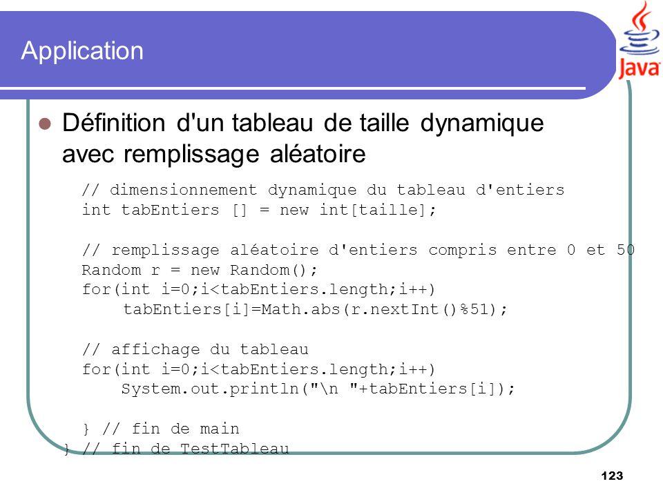 123 Application Définition d'un tableau de taille dynamique avec remplissage aléatoire // dimensionnement dynamique du tableau d'entiers int tabEntier