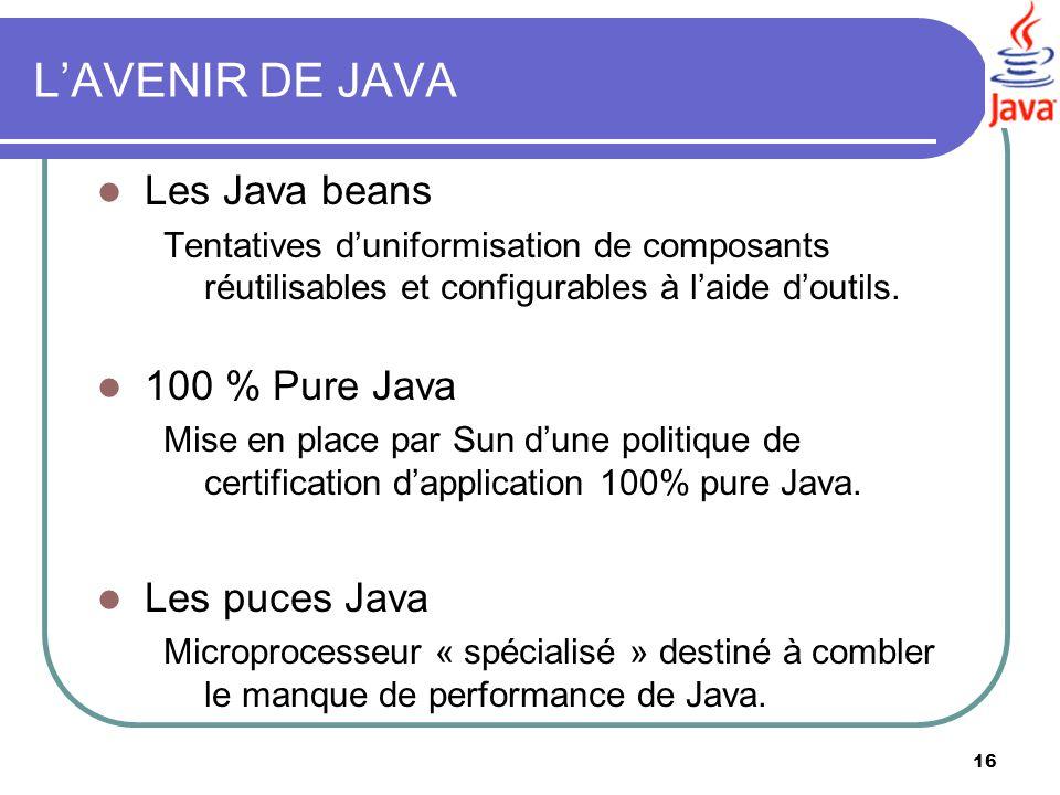 16 LAVENIR DE JAVA Les Java beans Tentatives duniformisation de composants réutilisables et configurables à laide doutils. 100 % Pure Java Mise en pla