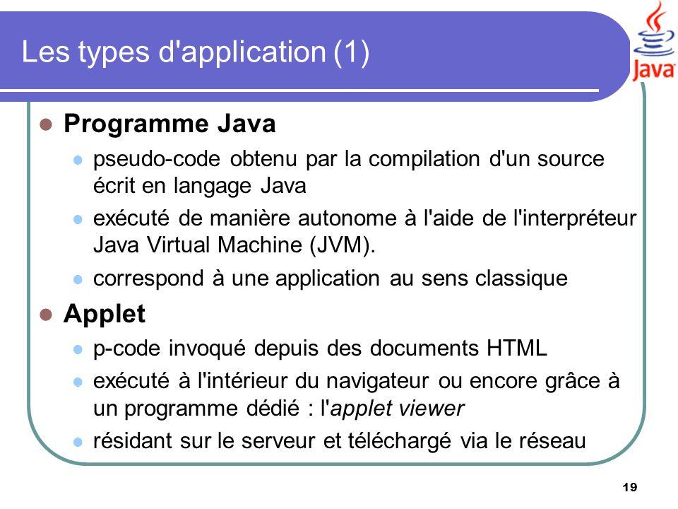 19 Les types d'application (1) Programme Java pseudo-code obtenu par la compilation d'un source écrit en langage Java exécuté de manière autonome à l'