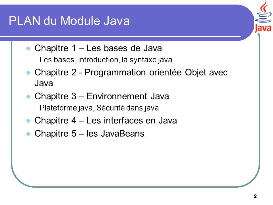 2 PLAN du Module Java Chapitre 1 – Les bases de Java Les bases, introduction, la syntaxe java Chapitre 2 - Programmation orientée Objet avec Java Chap