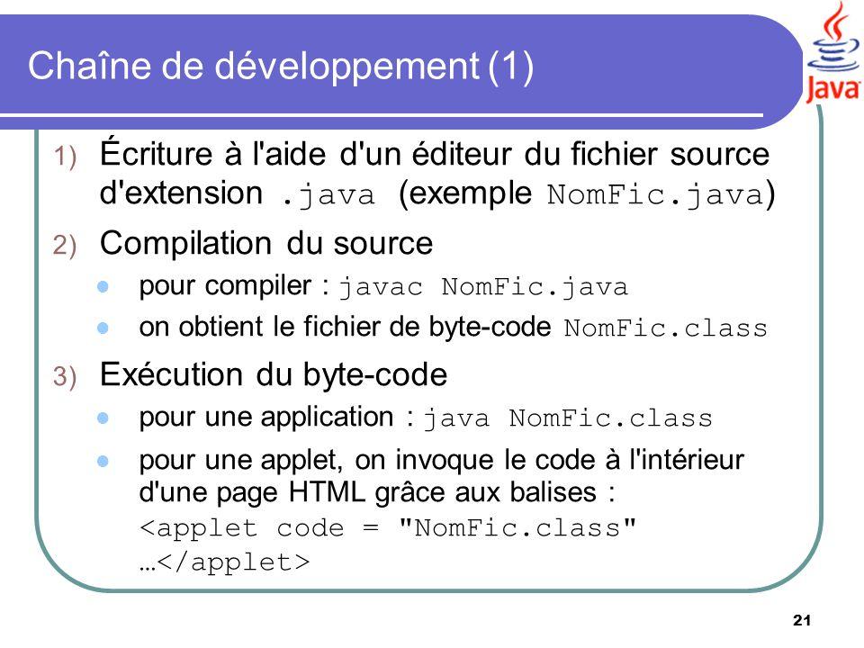 21 Chaîne de développement (1) 1) Écriture à l'aide d'un éditeur du fichier source d'extension.java (exemple NomFic.java ) 2) Compilation du source po
