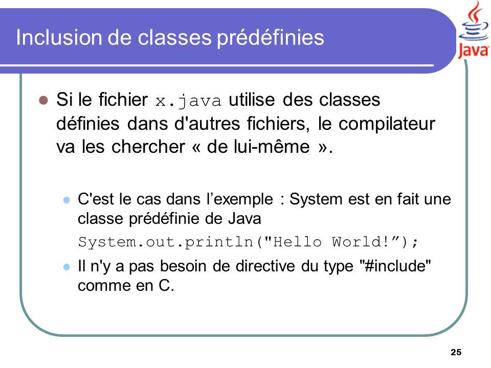 25 Inclusion de classes prédéfinies Si le fichier x.java utilise des classes définies dans d'autres fichiers, le compilateur va les chercher « de lui-